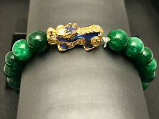 Pixiu Feng Shui Natural Stone Green Jade Beaded Bracelet for Power and Good Luck