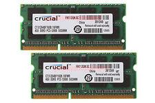 New Crucial 8GB 2X 4GB PC3-12800 DDR3-1600MHz 204pin SO-DIMM Laptop RAM Memory