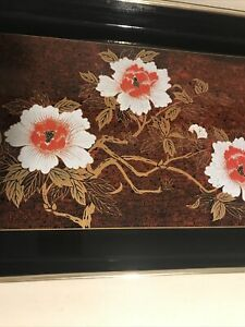 Vintage Japan Black Lacquer Serving Tray Red Black Asian Decor Floral Great