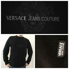 NEU VERSACE Jeans Couture Herren PULLOVER Strickpullover MEDUSA LOGO M/L Schwarz