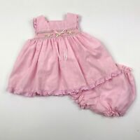 RARE EDITIONS Baby Girls Sz 12 Months Pink Smocked Dress & Diaper Cover