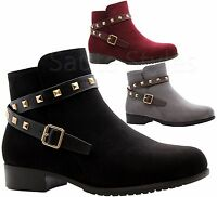 Ladies Womens Flat Block Heels Chelsea Studs Ankle Strap Office Boots Shoes Size