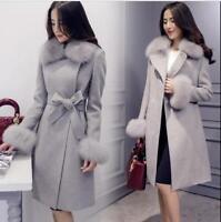 Women's Faux Fur Collar Wool Blend Long Coat Jacket Winter Belt Slim Outwear CN