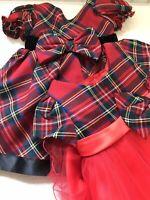 Baby Girls Red Tartan Dress Lace & Bow Tutu Ribbons Toddlers 3-24 mths & 2-3 yrs