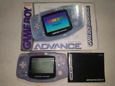 Nintendo Gameboy Advance GBA Blue Glacier Clear Complete in Box CIB TESTED