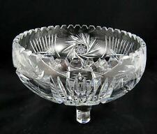 "BOHEMIAN CZECH BRILLIANT CUT CRYSTAL PINWHEEL VERTICAL CUTS 9"" CURL FOOTED BOWL"