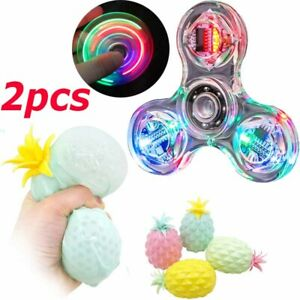 2 Pack Fidget Toy Anti Stress Pineapple Squeeze Ball LED Light Hand Spinner Toy