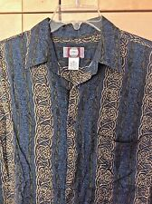 Chia Mare Retro 80's Men's Blue & Green Geometric Stripe 100% Rayon Shirt M