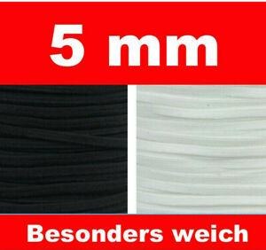 5 mm farbiges Gummiband Gummilitze besonders weich für Masken! 1m MUSTERPREIS !