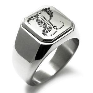 Stainless Steel Monogram Royal Initial P Mens Square Biker Style Signet Ring