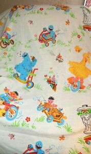 Sesame Street Soap Box Derby Twin Flat Twin Sheet Set Pillow Case VINTAGE Fabric