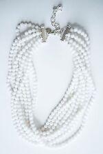 White Jade Beaded Multi Strand Torsade Necklace