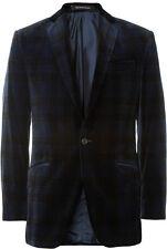 Men's Richard James Savile Row Hyde Slim Tartan Velvet Blazer in Blue Sz 36R NWT