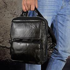 """Men Oil Wax Leather 10"""" Tablet Shoulder Handbag Office Work Satchel Travel Bag"""