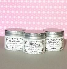 Handmade Organic Thick Strawberry Scented Shea Butter Body Lotion 50ml Tub