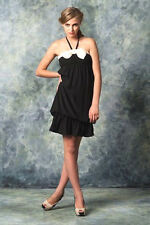 NEW NWT ZARA LITTLE BLACK DRESS SATIN WITH IVORY BOW STRAPLESS OR HALTER M-L