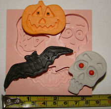 LARGE SILICONE MOULD HALLOWEEN BAT SKULL PUMPKIN CUPCAKE CARD TOPPERS FIMO RESIN