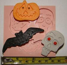 Grandes De Silicona Molde Halloween Bat Skull Calabaza Cupcake Tarjeta Toppers Fimo Resina