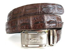100% BIG BACKBONE GENUINE CROCODILE LEATHER MEN'S BELT DARK BROWN NEW SZ.38