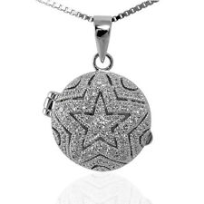 STAR LOCKET CUBIC ZIRCONIA SILVER LOCKET AND CHAIN MOON,STARS and HEARTS