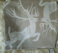 """WILLIAMS SONOMA Sawyer Reversible Lambswool Pillow Cover 1 Taupe 22""""  Stag Deer"""