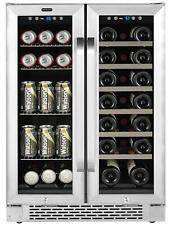 "Whynter 24"" 20 Bottle Wine 60 Can Beverage Cooler Built-In French Door Dual Zone"