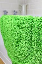 SUPERSOFT NEON LIME GREEN SHAGGY CHENILLE OVAL INDOOR RUG BATH MAT 50cm x 80cm