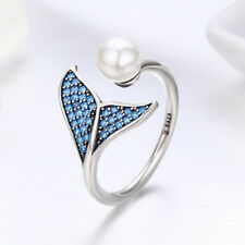 Ocean Mermaid Tail 925 Sterling Silver CZ Blue Open Ring with Pearl Adjustable