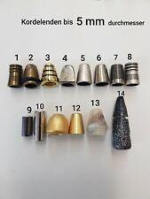 Kordelenden in verschiedenen Formen und Farben bis 5 mm Ø