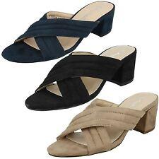 Sale Ladies Anne Michelle Mule Block Heel Slip On Sandals F10728