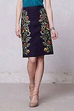 New Anthropologie Moulinette Sours Clematis Pencil Embroidered Skirt Size 12