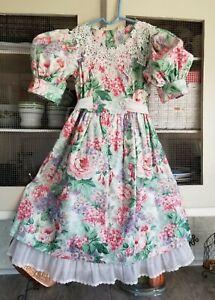 VTG Vintage Sarah Kent Cotton DRESS Floral CHINTZ Tea Garden 80s 90s Girl sz.6X
