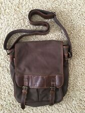 Vintage Fossil Canvas & Leather Messenger Bag-Chocolate Brown w/Leather Strap