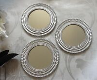 Set of 3 Vintage Inspired Silver Effect Mirrors Wall Art Deco Round Wings NEW