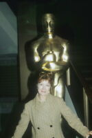Greer Garson, Rare shot standing in front of huge Oscar statue 8x12 photo