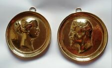 Paire Médaillons bronze NAPOLEON III EMPEREUR IMPERATRICE EUGENIE SECOND EMPIRE