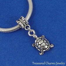 Silver TURTLE Tortoise Dangle Bead CHARM fits EUROPEAN Bracelet