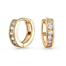 Bling Jewelry Gold Plated Small CZ Huggie Sterling Silver Hoop Earrings