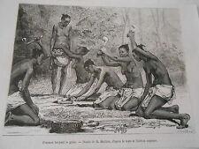 Afrique Africa Femme broyant le grain Gravure 1877