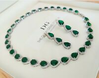 White gold finish green emerald pear cut created diamond necklace and earrings