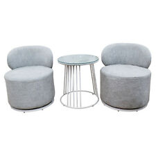 Home Office Coffee Table with 2 Fabric Swivel Chairs Livingroom Furniture Grey