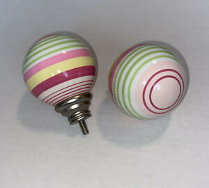 Pottery Barn Kids Multi Stripe Finials Embouts PINK Set Of 2 NEW