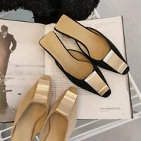 Fashion Women Block Mid Heel Mules Pointy Toe Suede Sandals Slippers Shoes Size
