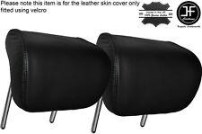 BLACK STITCHING 2X REAR HEADREST LEATHER SKIN COVERS FITS AUDI A4 B8 2008-2013