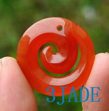 Carnelian Red Agate Chalcedony Koru Pendant Necklace Nz Maori Style Carving