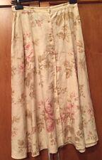 RALPH LAUREN Skirt Size 4 Beige Floral 100% Linen Button Front Midi Skirt