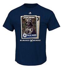 DARTH VADER STAR WARS MILWAUKEE BREWER Majestic Baseball T-Shirt Vtg L MLB New
