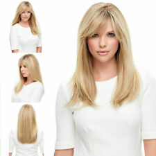 Ladies Stylish Long Straight Wavy Full Hair Wig Blonde Gold Mix Cosplay Costume