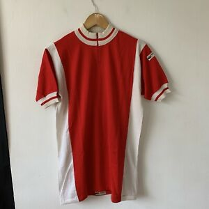 Vintage Italian Cycling Jersey Size S? Short Sleeve Red Wool Blend Gianni Motta