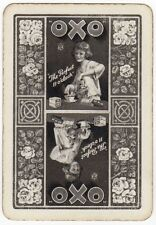 Playing Cards 1 Swap Card Vintage Wide Advert OXO Lady Girl Rose Flowers Flower